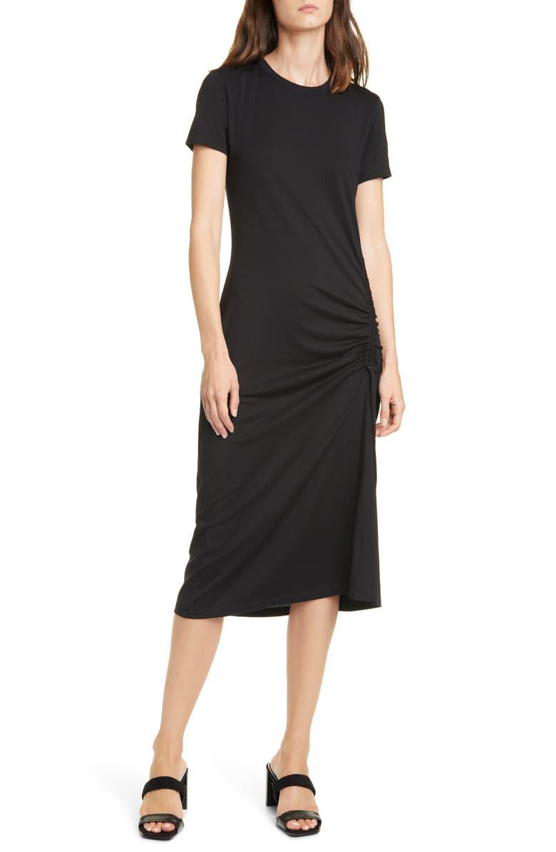 RAG & BONE rag & boe Ina Ruched Midi T-Shirt Dress, Main, color, BLACK