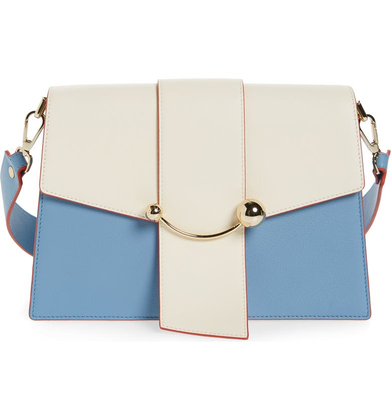 STRATHBERRY Bicolor Crescent Calfskin Leather Shoulder Bag, Main, color, ALICE BLUE/ VANILLA