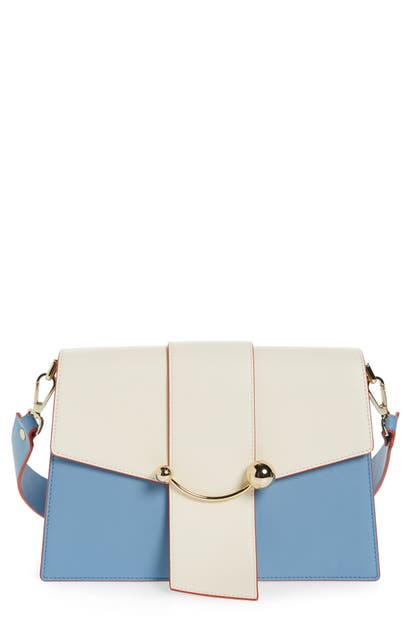 Strathberry Bicolor Crescent Calfskin Leather Shoulder Bag In Alice Blue/ Vanilla