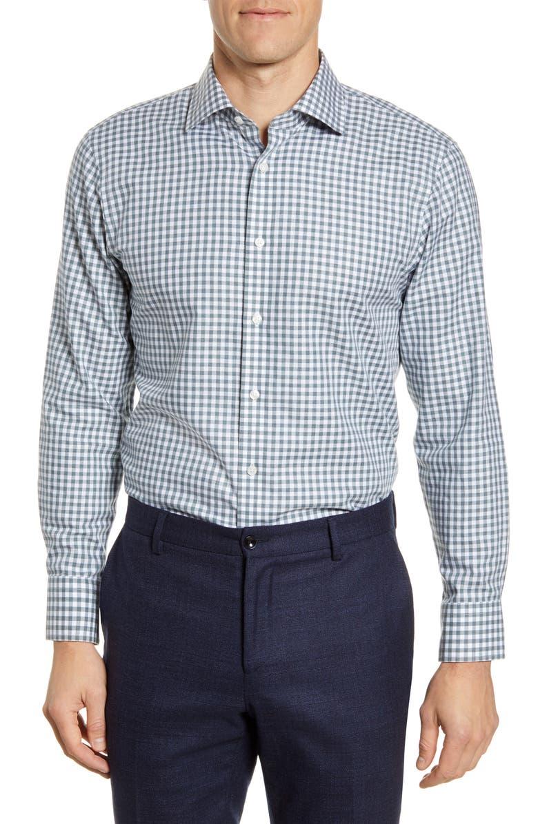 THE TIE BAR Trim Fit Gingham Dress Shirt, Main, color, 364