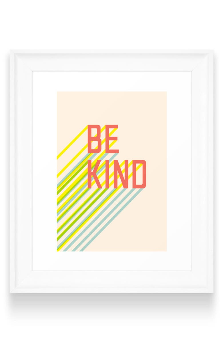 DENY DESIGNS Be Kind Art Print, Main, color, WHITE FRAME- 8X10