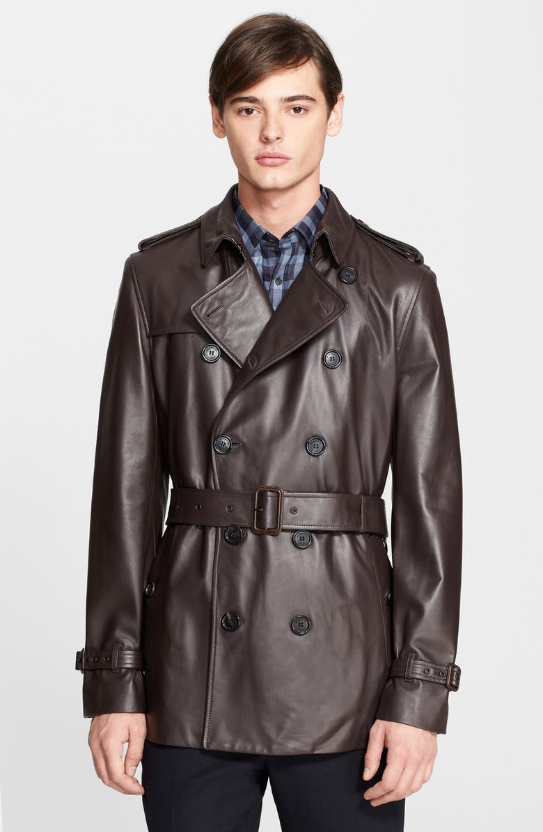 delicate colors preview of novel style London 'Kensington' Short Leather Trench Coat