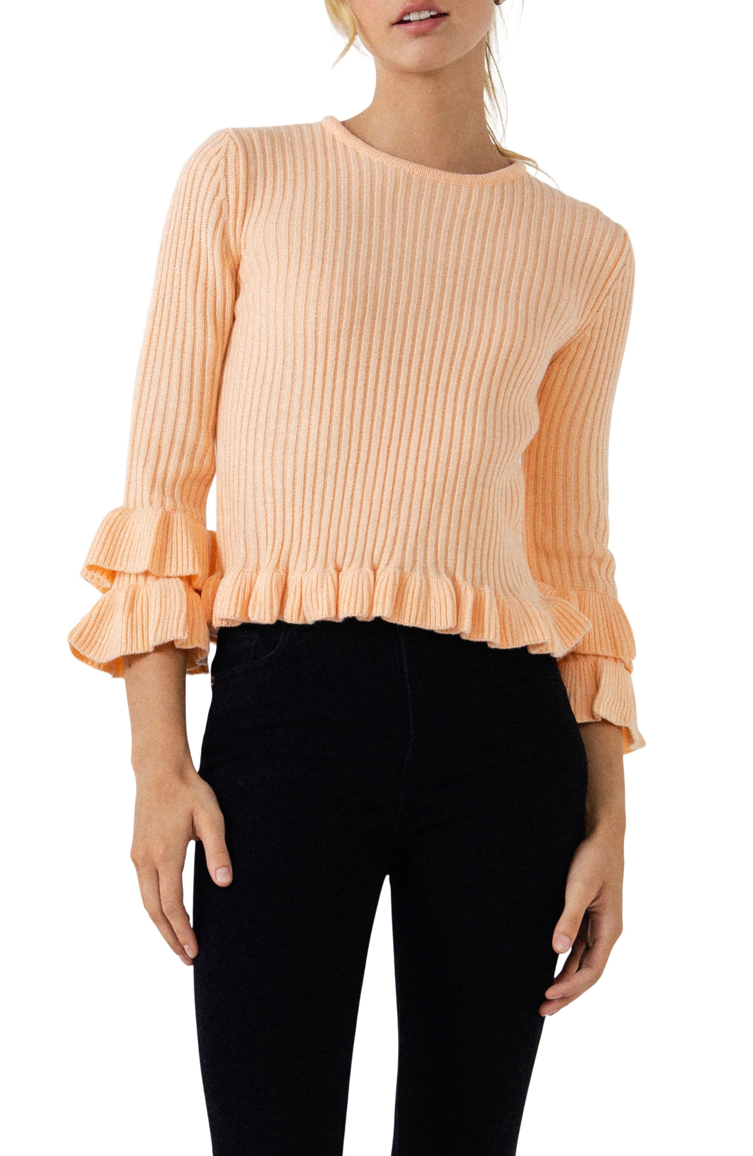 Rib Ruffle Edge Sweater