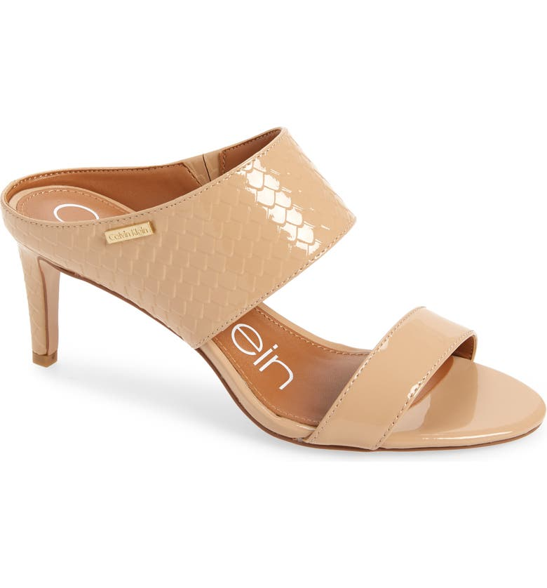 CALVIN KLEIN 'Cecily' Sandal, Main, color, SAND PATENT LEATHER