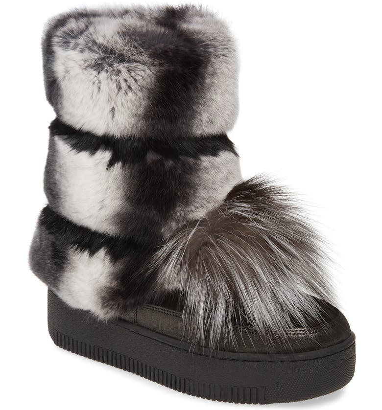 SHERIDAN MIA Tallulah Genuine Rabbit & Genuine Fox Fur Boot, Main, color, BLACK