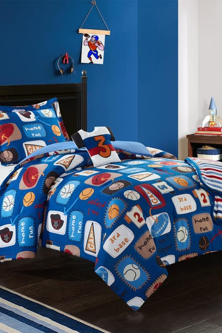 Image of Chic Home Bedding Twin Canival Camp Printed Stitched Patchwork Athletic Comforter Set - Blue