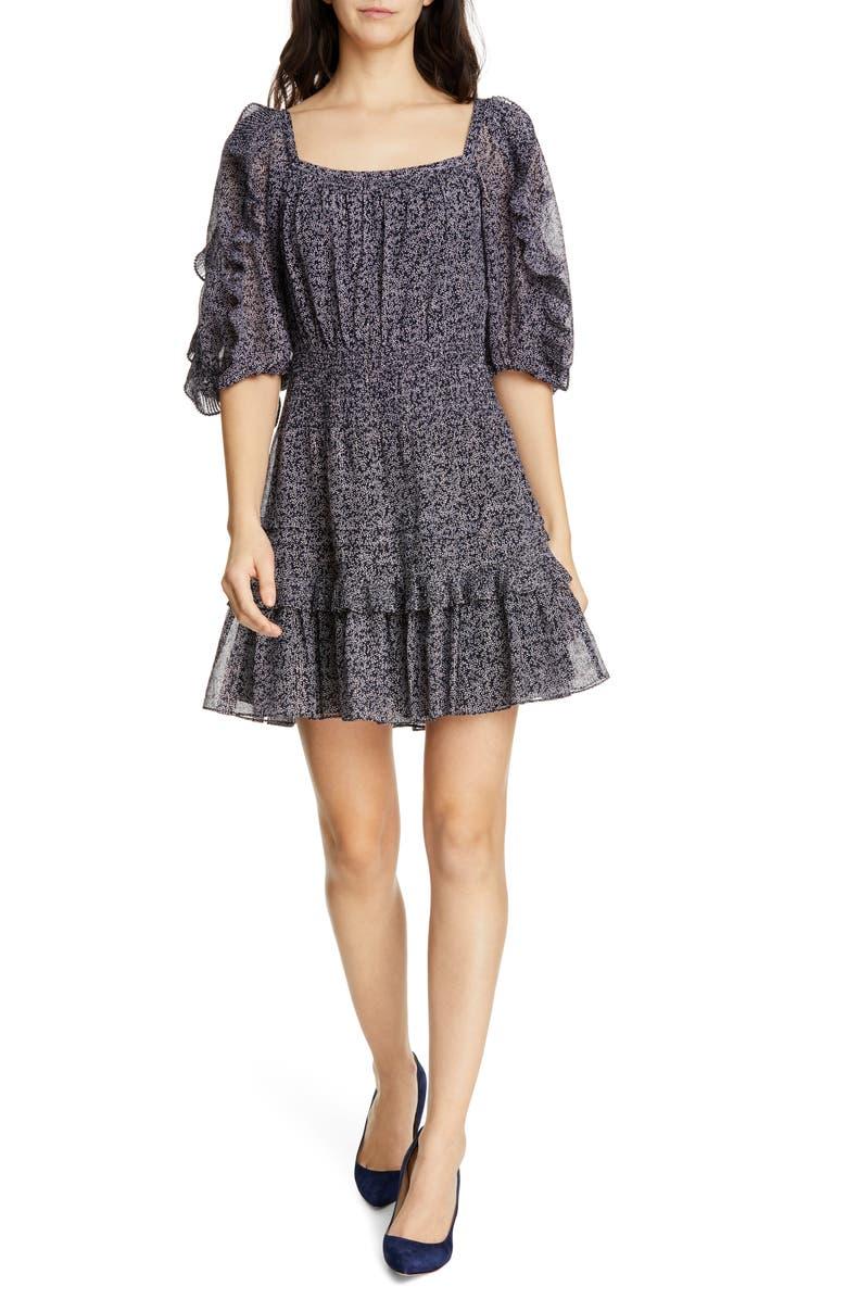 REBECCA TAYLOR Block Vine Ruffle Detail Cotton & Silk Blend Dress, Main, color, 482