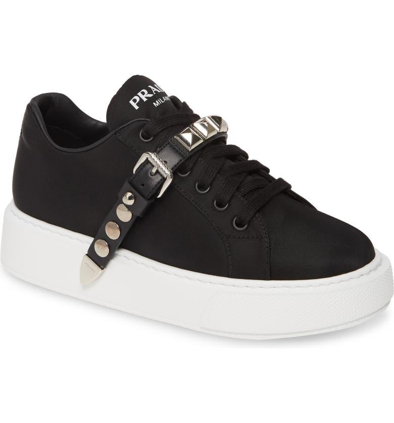 PRADA Platform Sneaker, Main, color, BLACK