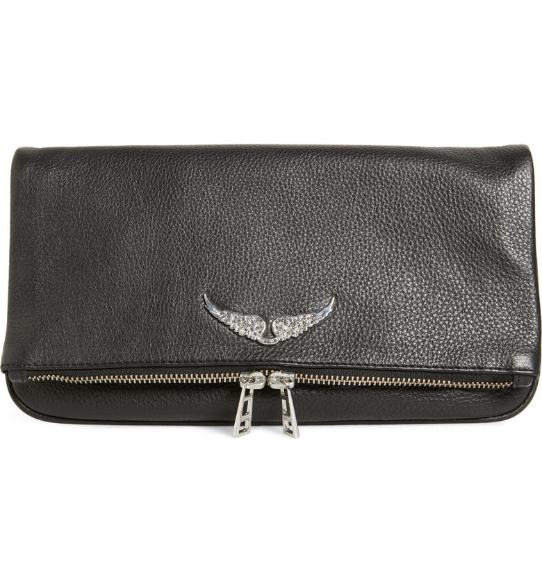 ZADIG & VOLTAIRE Rock Leather Clutch, Main, color, 001