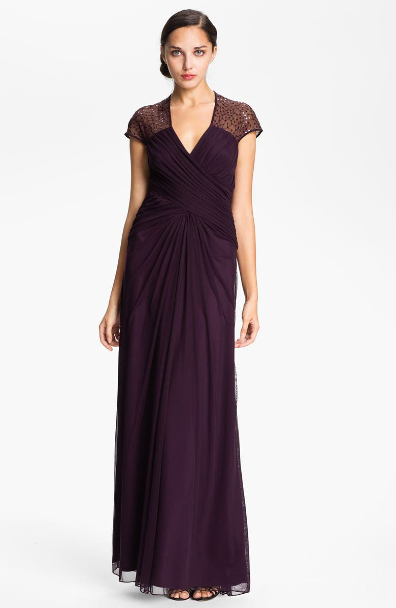 T BY TADASHI Cap Sleeve Sequin Mesh Gown, Main, color, 504