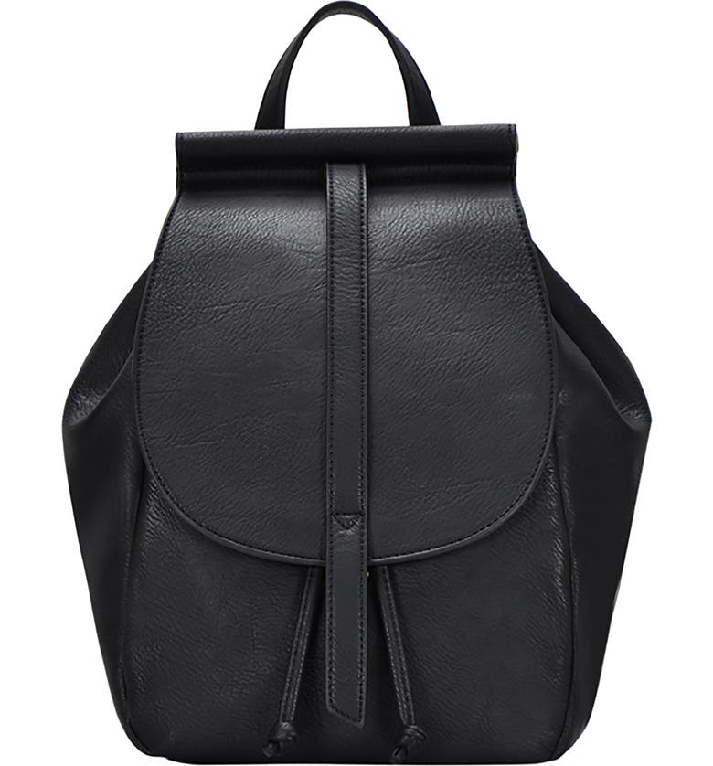 ANTIK KRAFT California Faux Leather Backpack, Main, color, BLACK