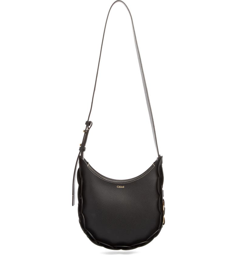 CHLOÉ Small Darryl Leather Hobo, Main, color, BLACK