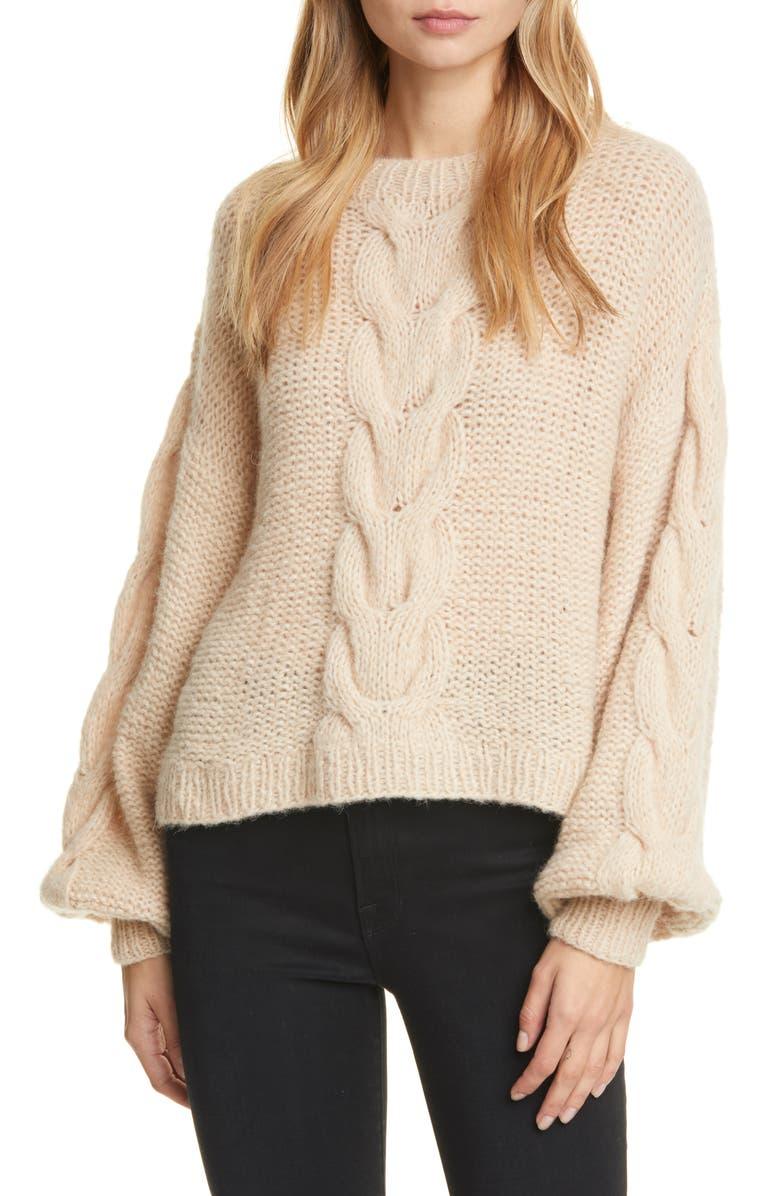 ELEVEN SIX Sophia Cable Knit Alpaca Blend Sweater, Main, color, PALE CAMEL