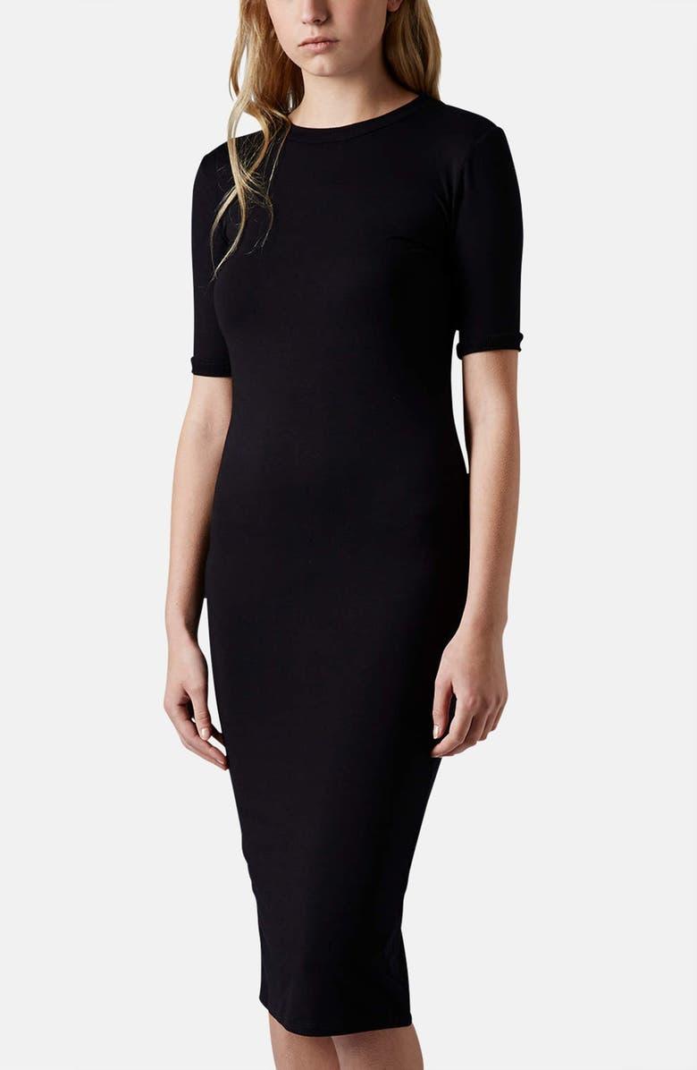TOPSHOP Rib Knit Trim Midi Dress, Main, color, 001