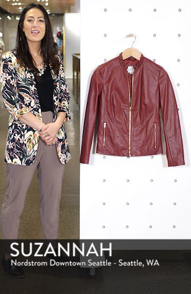 Cole Haan Womens Faux Leather Ruffle Collar Jacket