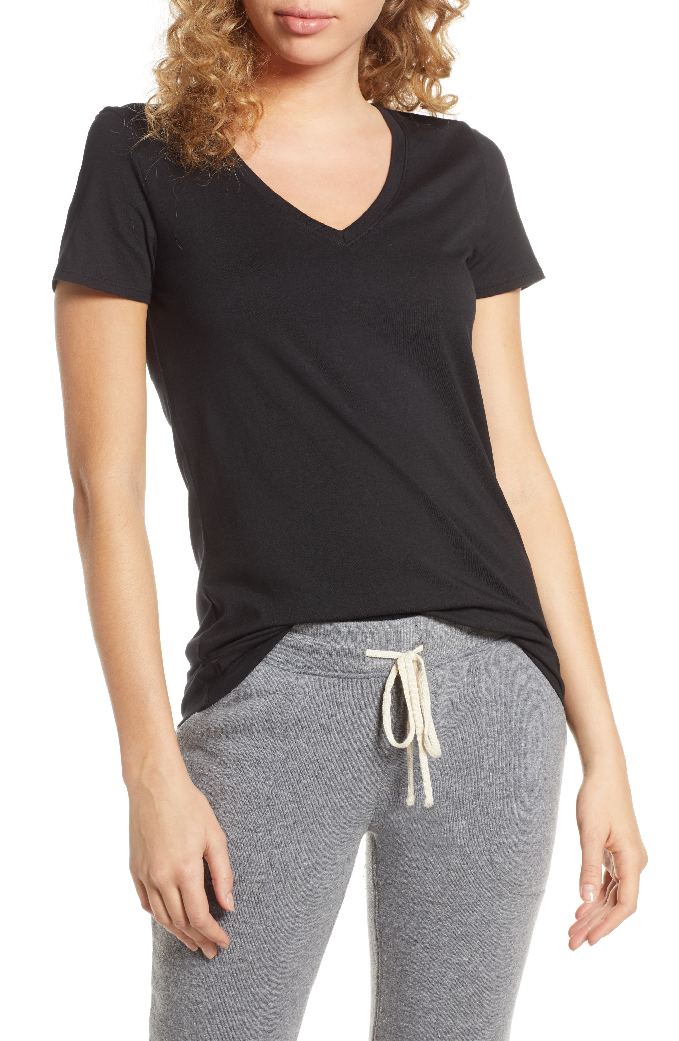 Tommy John Second Skin V-Neck Tee, Black