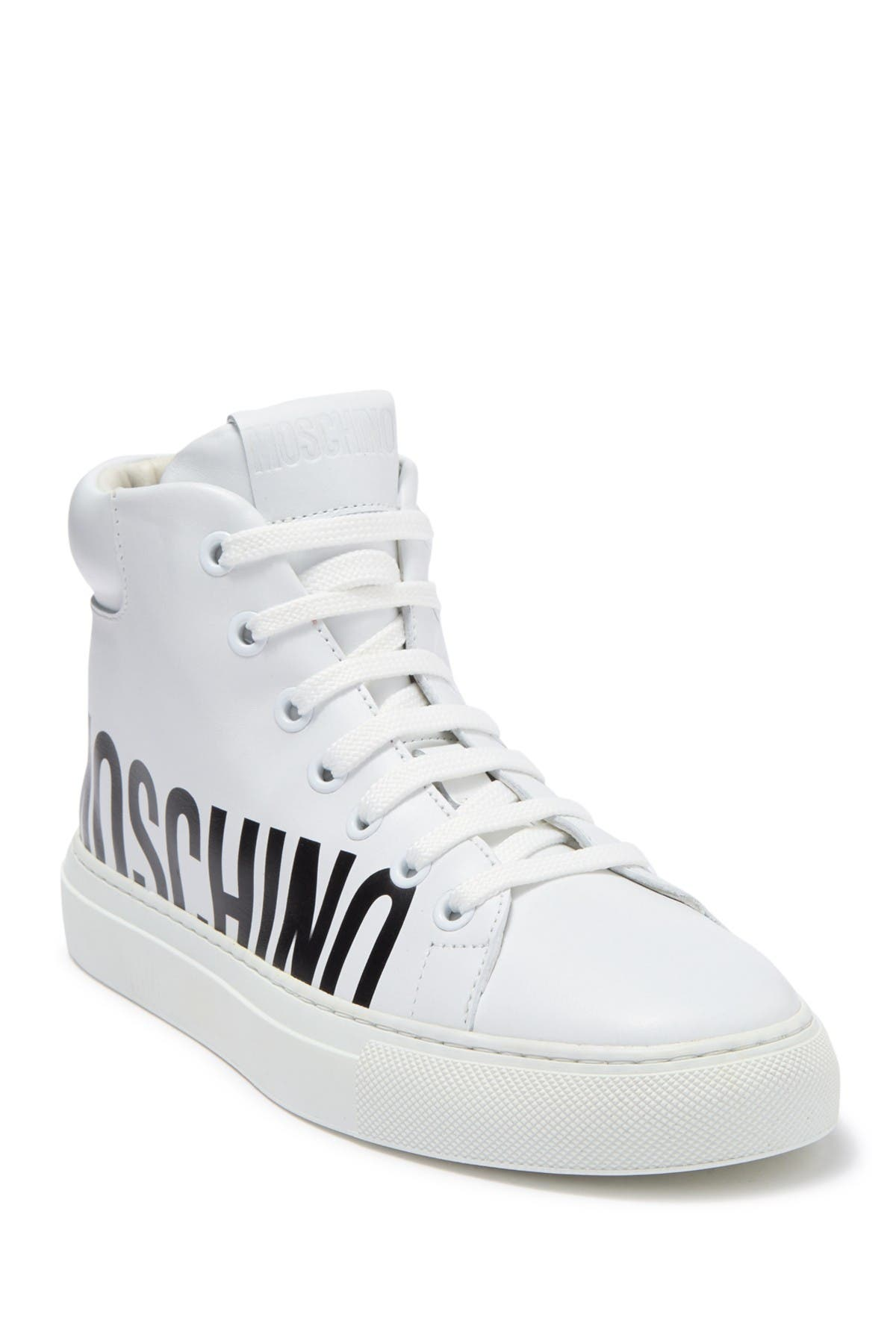 Image of MOSCHINO Logo Print High Top Sneaker