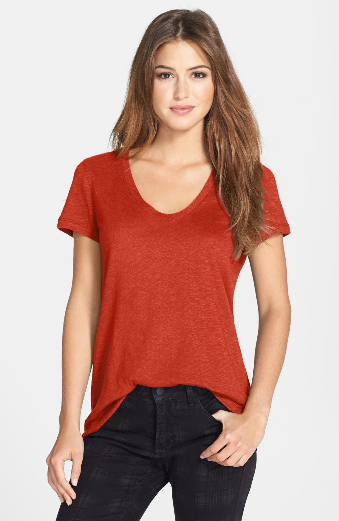 ,                             Relaxed Slub Knit U-Neck Tee,                             Main thumbnail 441, color,                             801