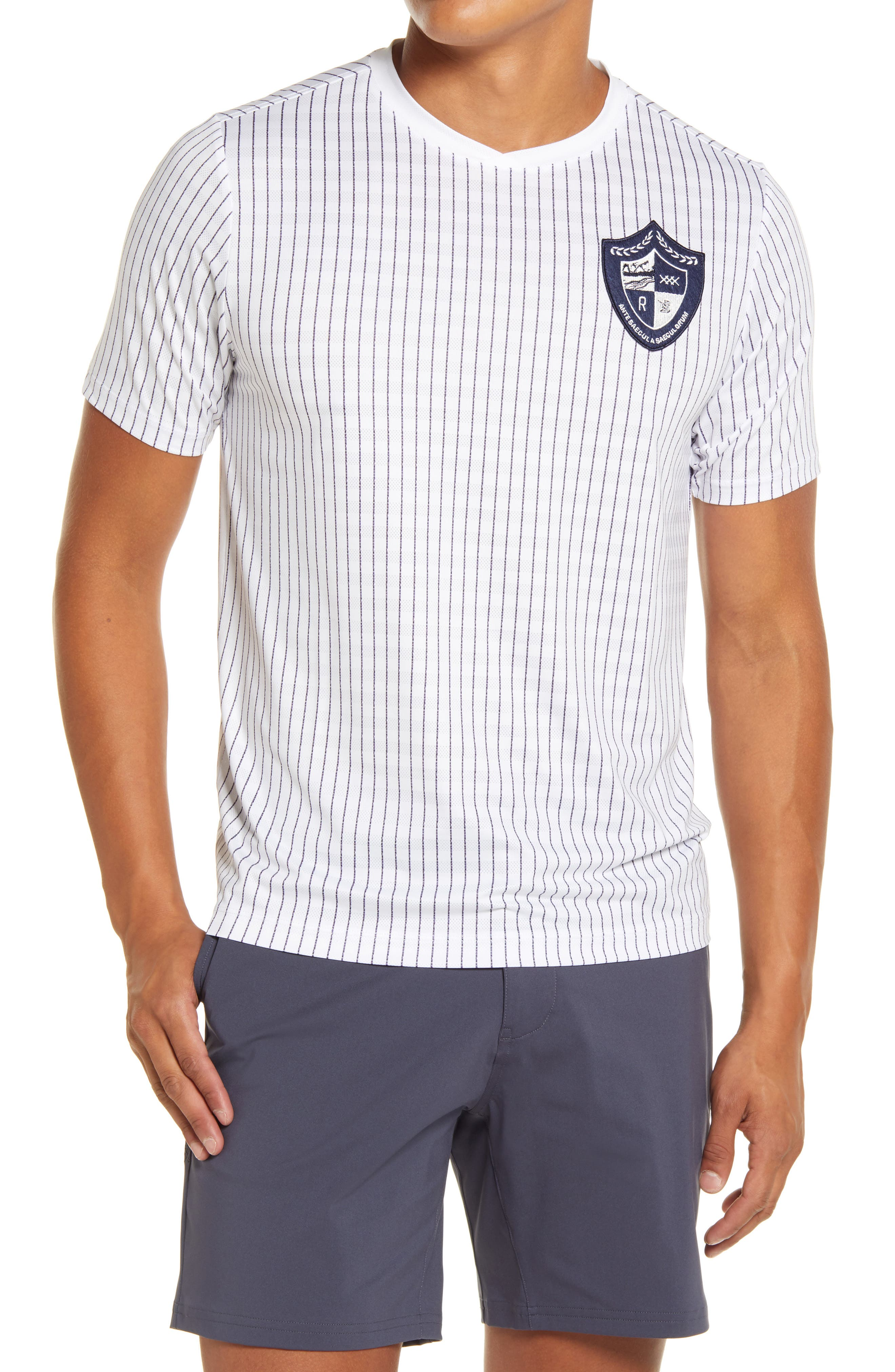 Stretchy, moisture-wicking mesh keeps up at any intensity in a sporty pinstripe T-shirt that dries quickly and resists odors to keep you fresh and comfortable. Style Name: Rhone Swift Academy Pinstripe Performance Mesh T-Shirt. Style Number: 6095342. Available in stores.