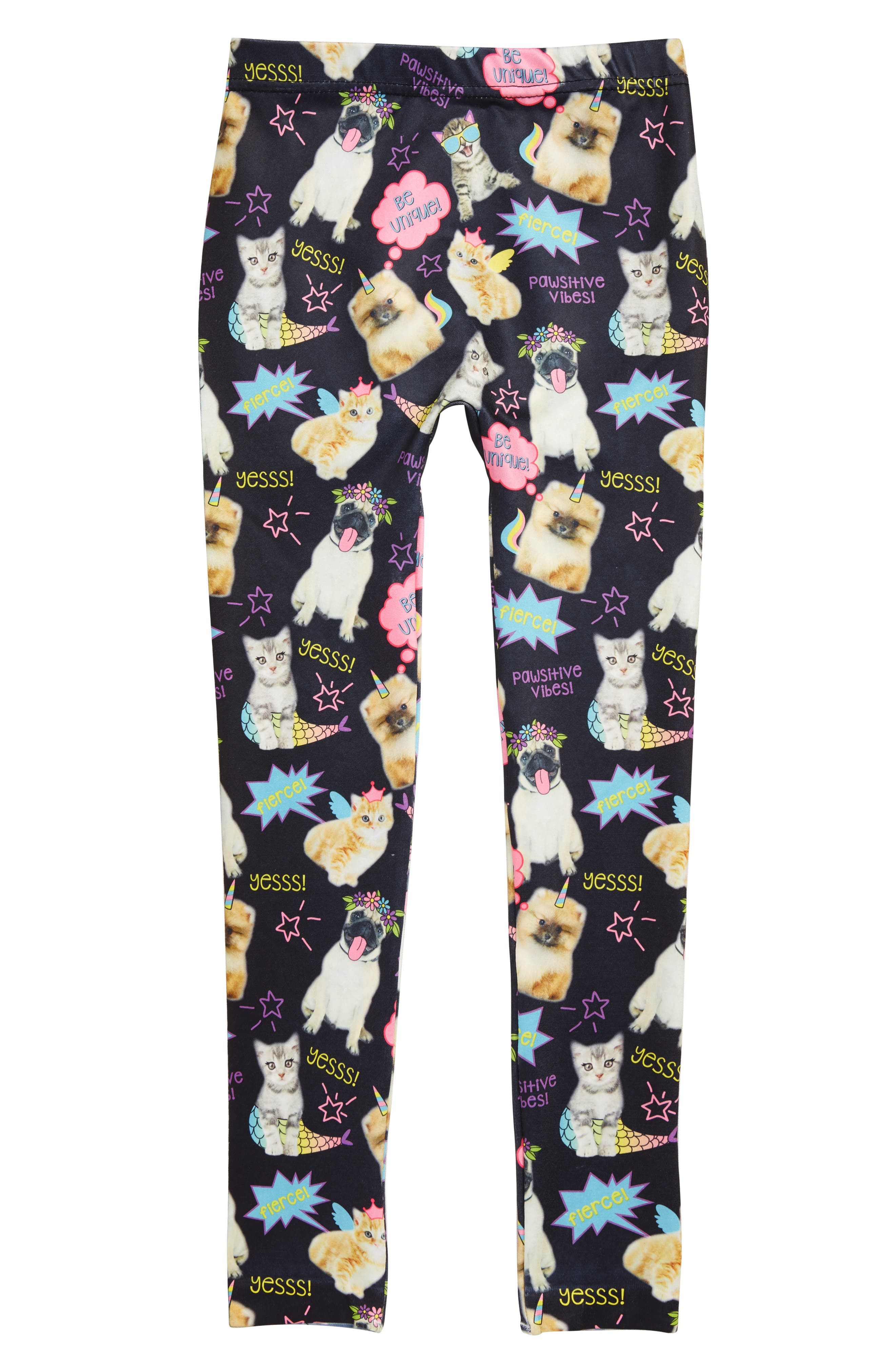 Cat Doodle Critters Leggings, Main, color, BLACK COMBO