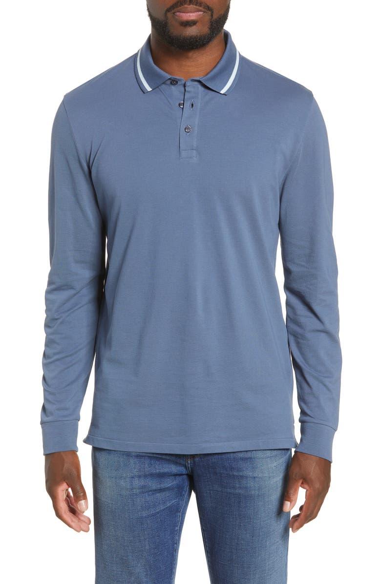 BONOBOS Slim Fit Tipped Long Sleeve Piqué Polo, Main, color, LAKE LIFE