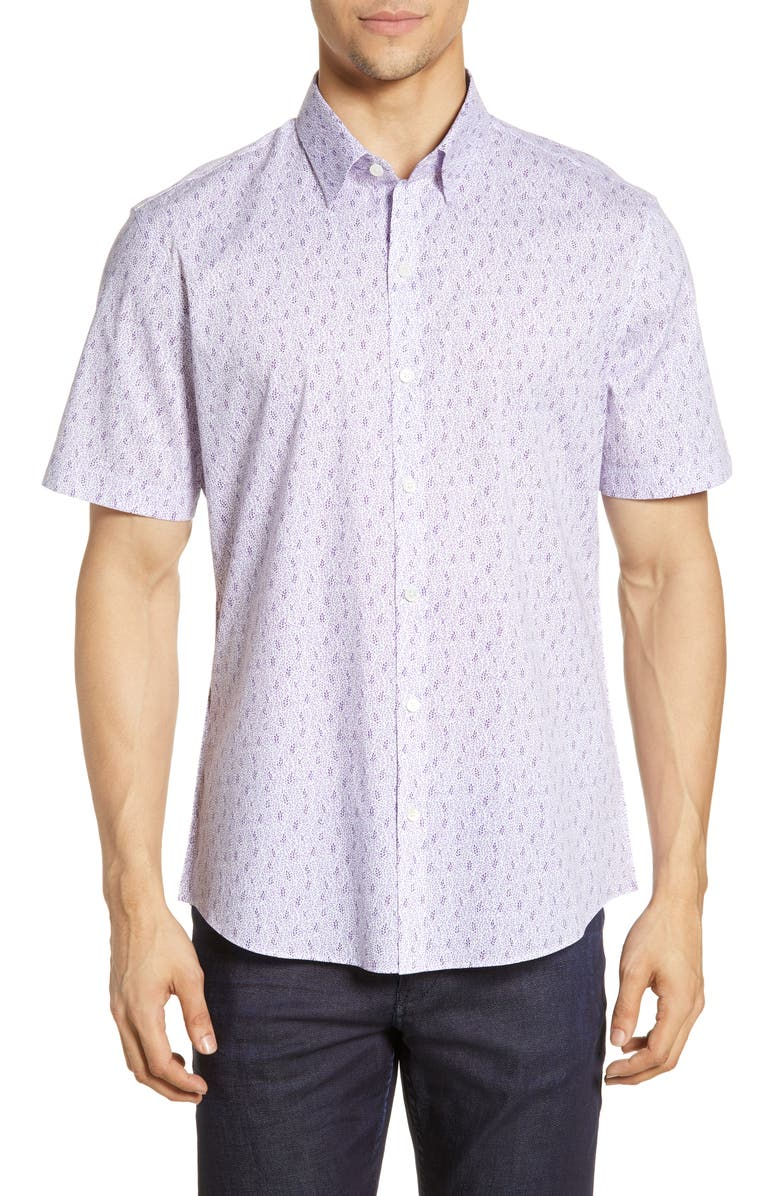 ZACHARY PRELL Twaits Regular Fit Print Shirt, Main, color, PURPLE