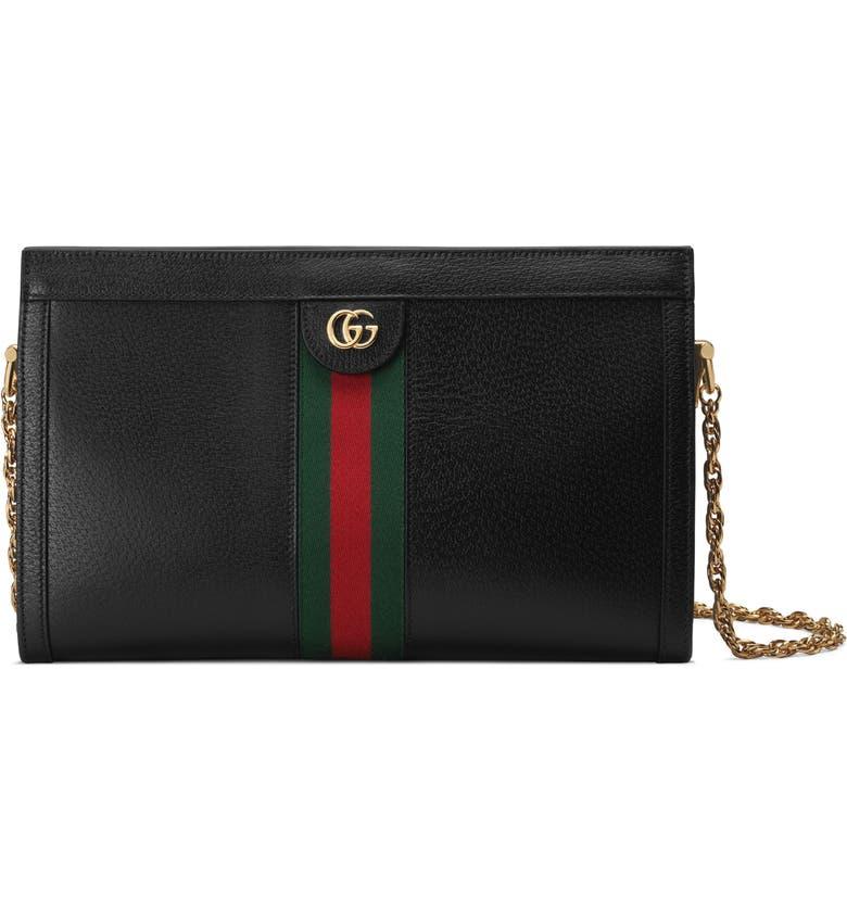 GUCCI Medium Ophidia Leather Shoulder Bag, Main, color, 001
