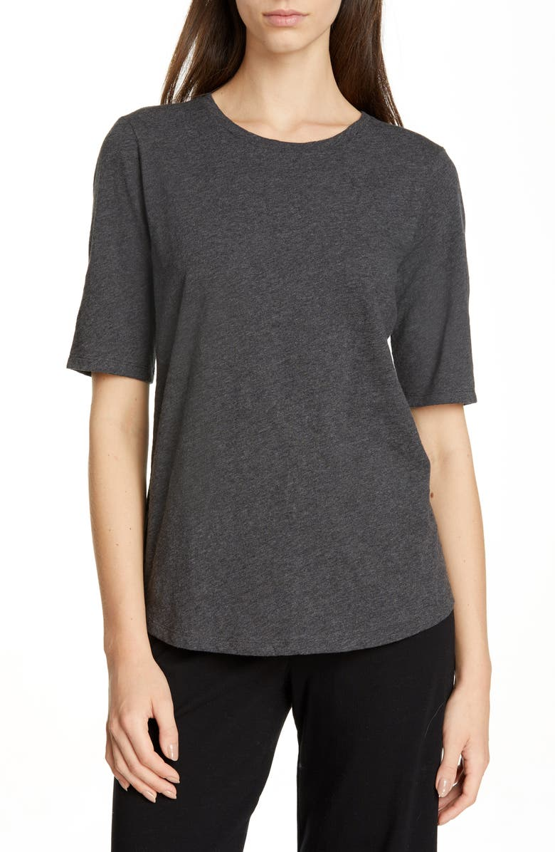 EILEEN FISHER Crewneck Tee, Main, color, GRAPHITE