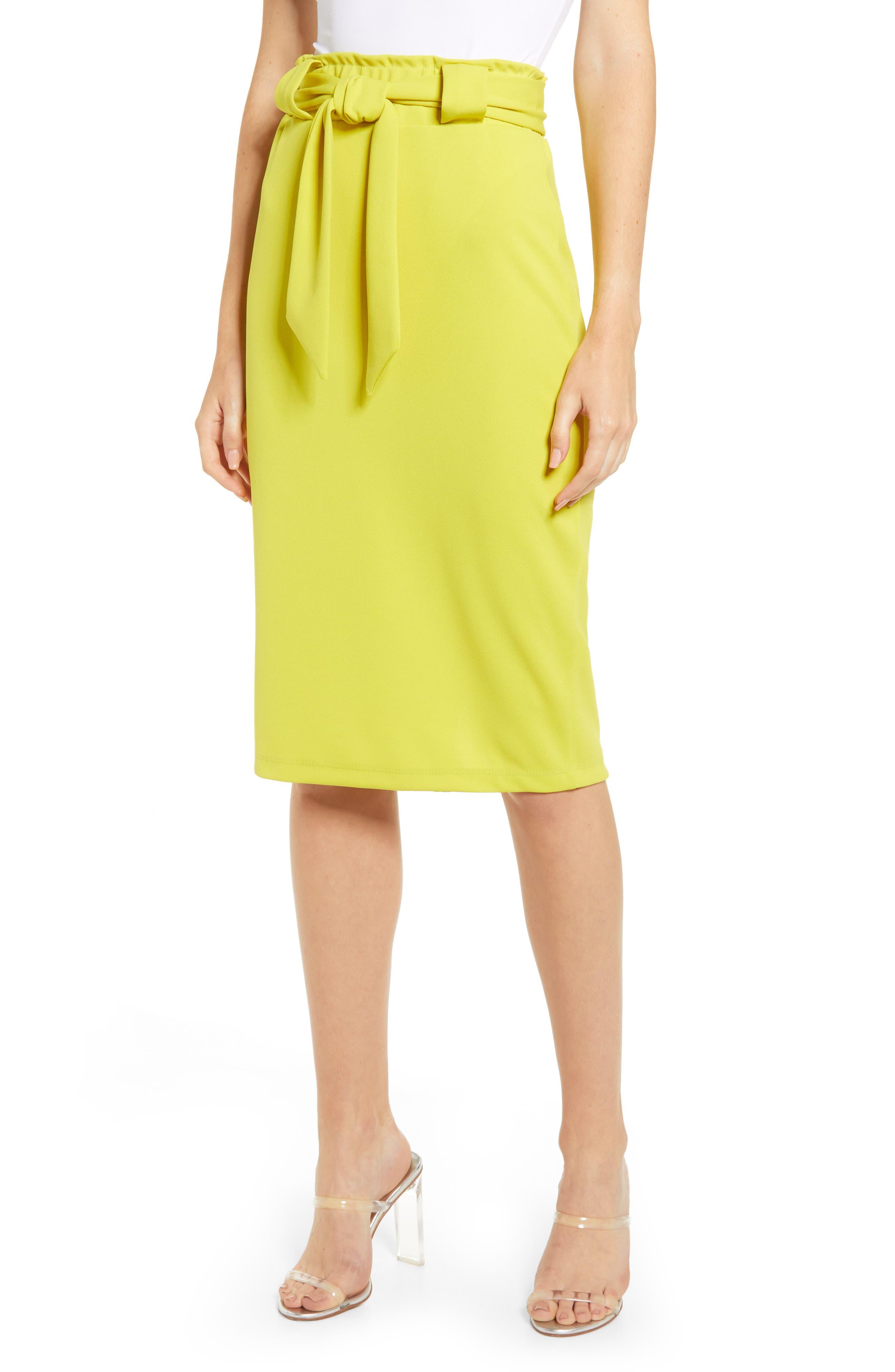 Sentimental Ny Paperbag Waist Pencil Skirt, Yellow