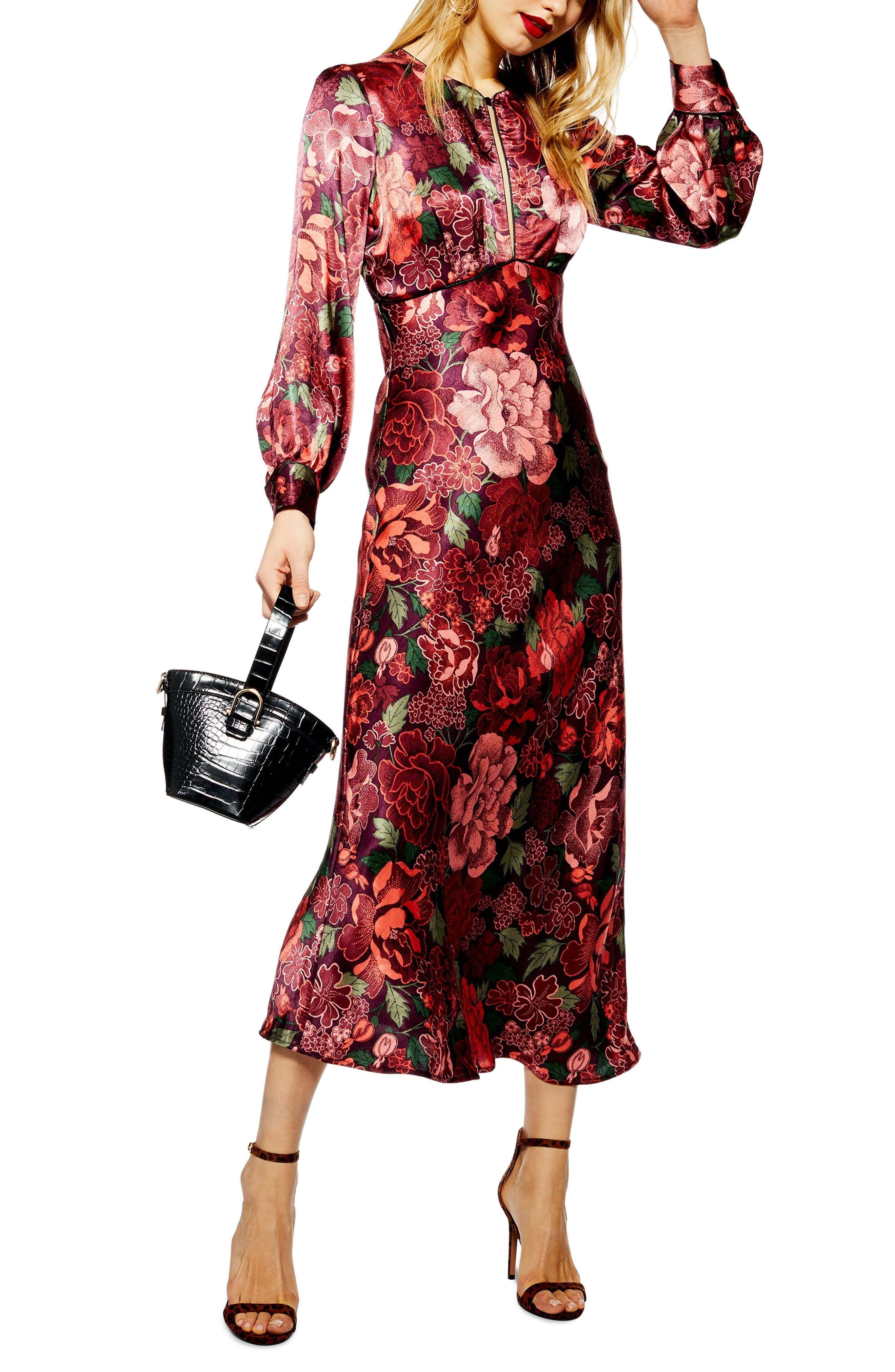 Satin Floral Midi Dress, Main, color, 600