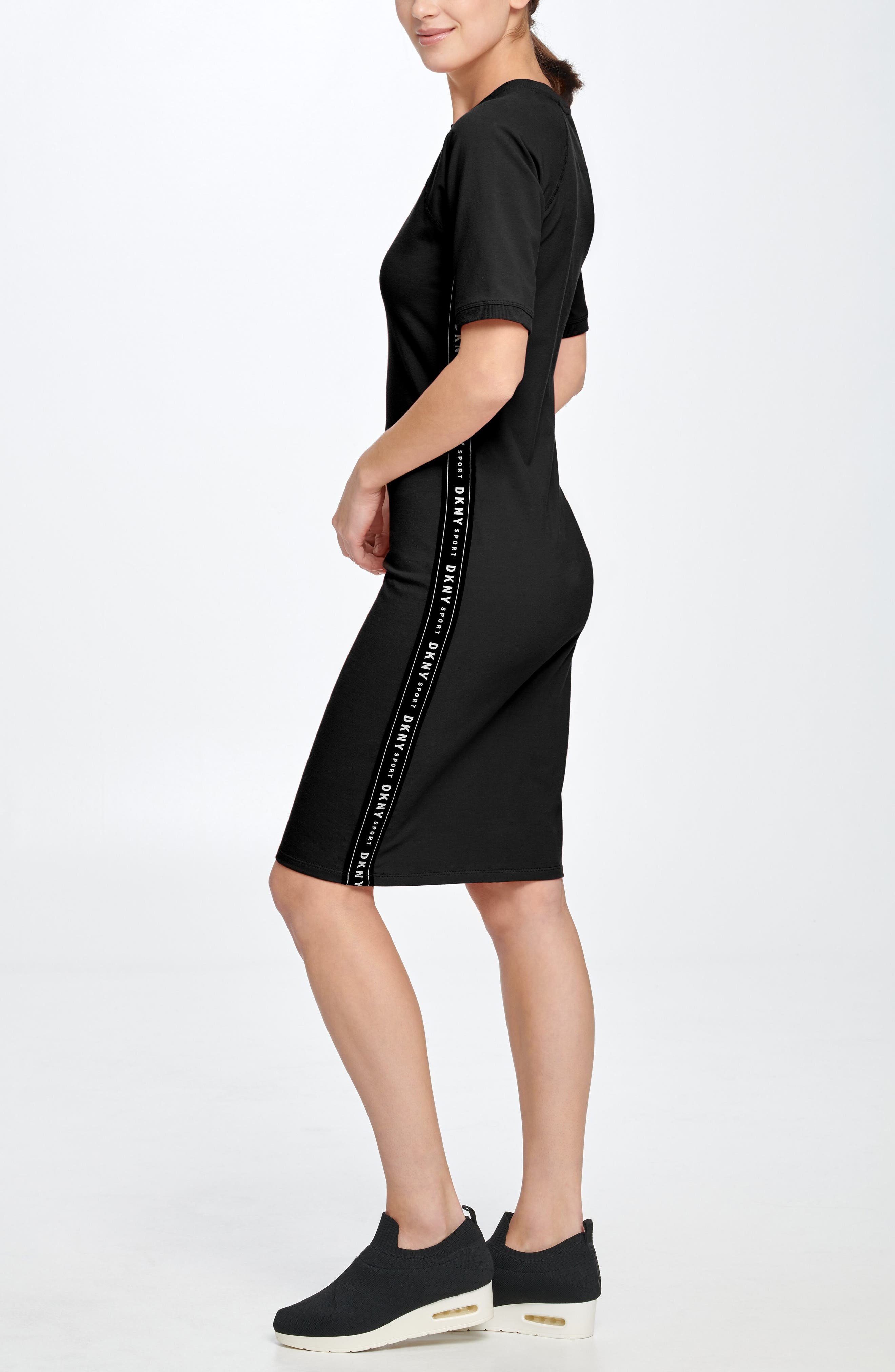 Logo Tape Cotton Knit Dress