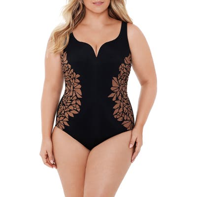 Plus Size Miraclesuit Gilted As Charged Temptress One-Piece Swimsuit, Black