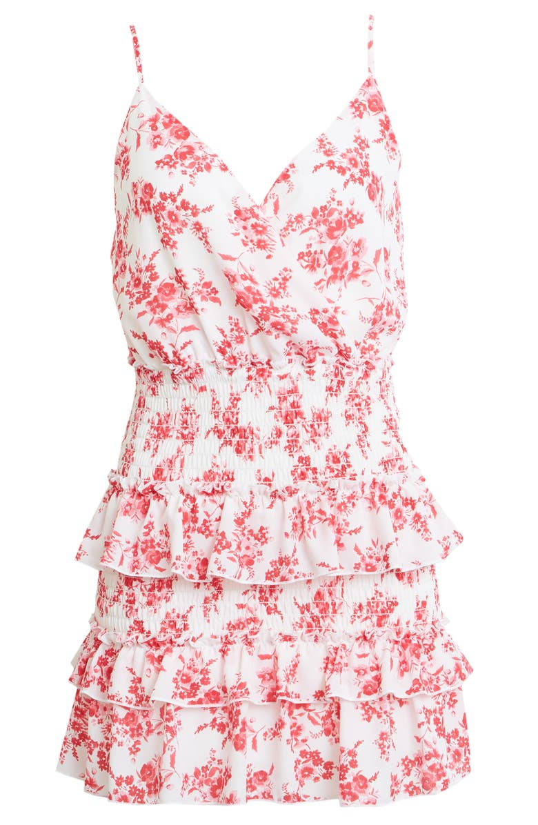 ROW A Floral Tiered Minidress, Main, color, WHITE/ PINK