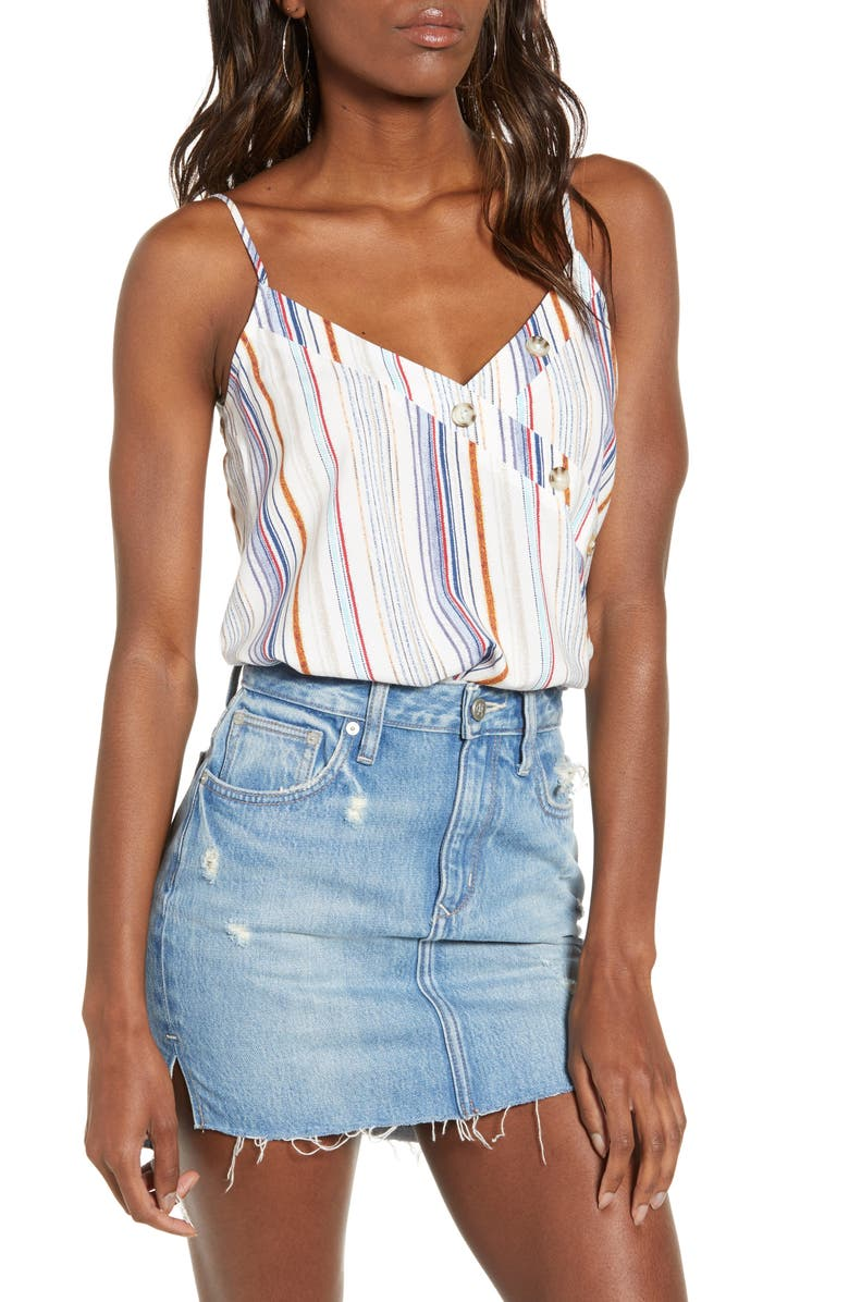 HIATUS Stripe Button Neck Tank, Main, color, IVORY STRIPE