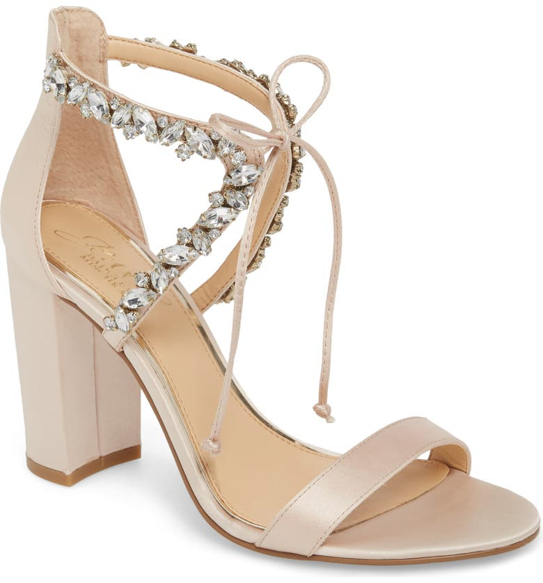 JEWEL BADGLEY MISCHKA Thamar Embellished Sandal, Main, color, CHAMPAGNE SATIN