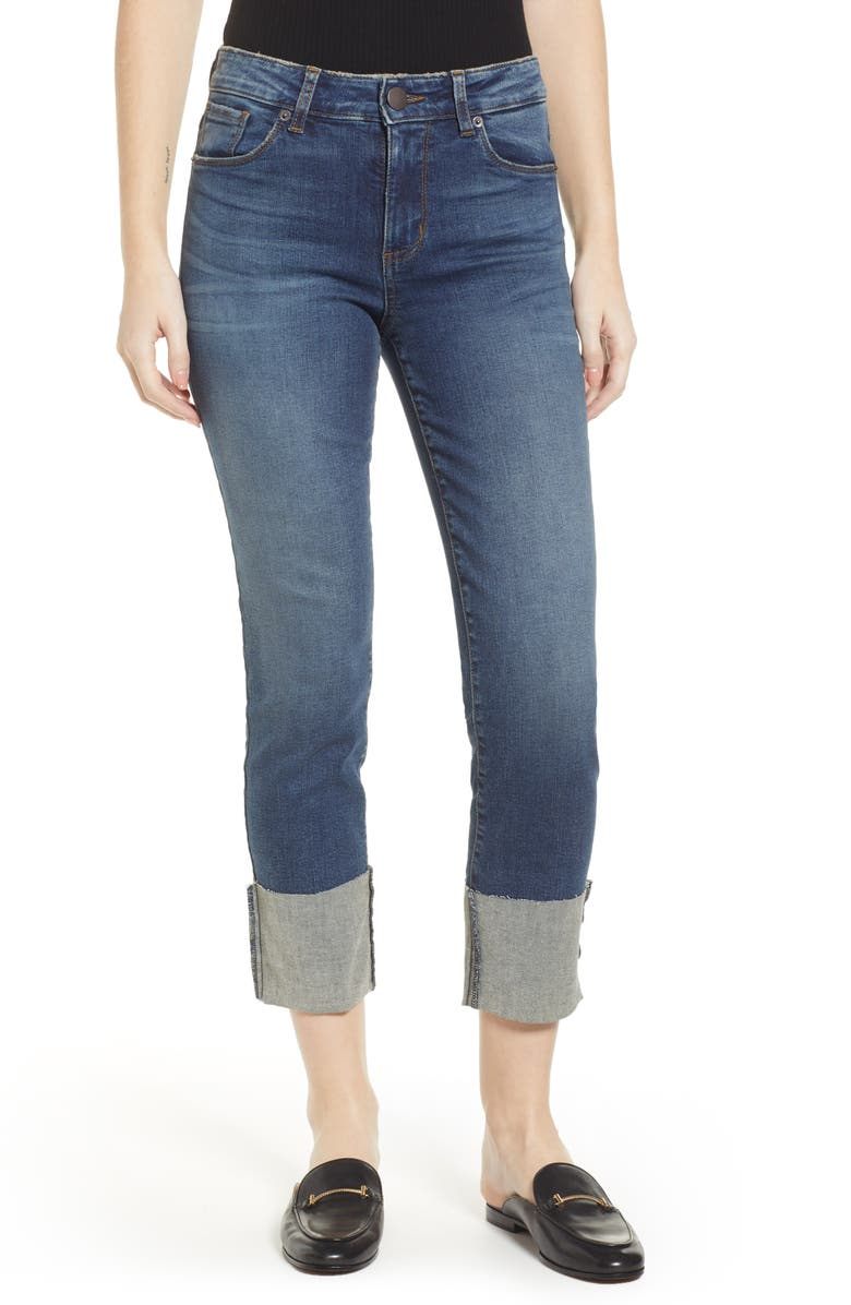 SWAT FAME STS Blue Lucia Cuffed Straight Leg Jeans, Main, color, ARROWOOD