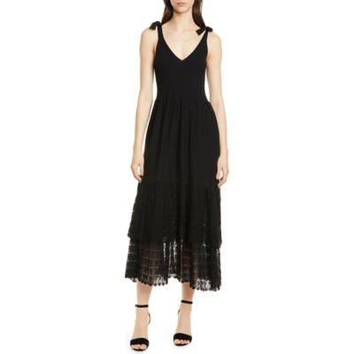 La Vie Rebecca Taylor Tie Shoulder Ribbed & Lace Dress, Black