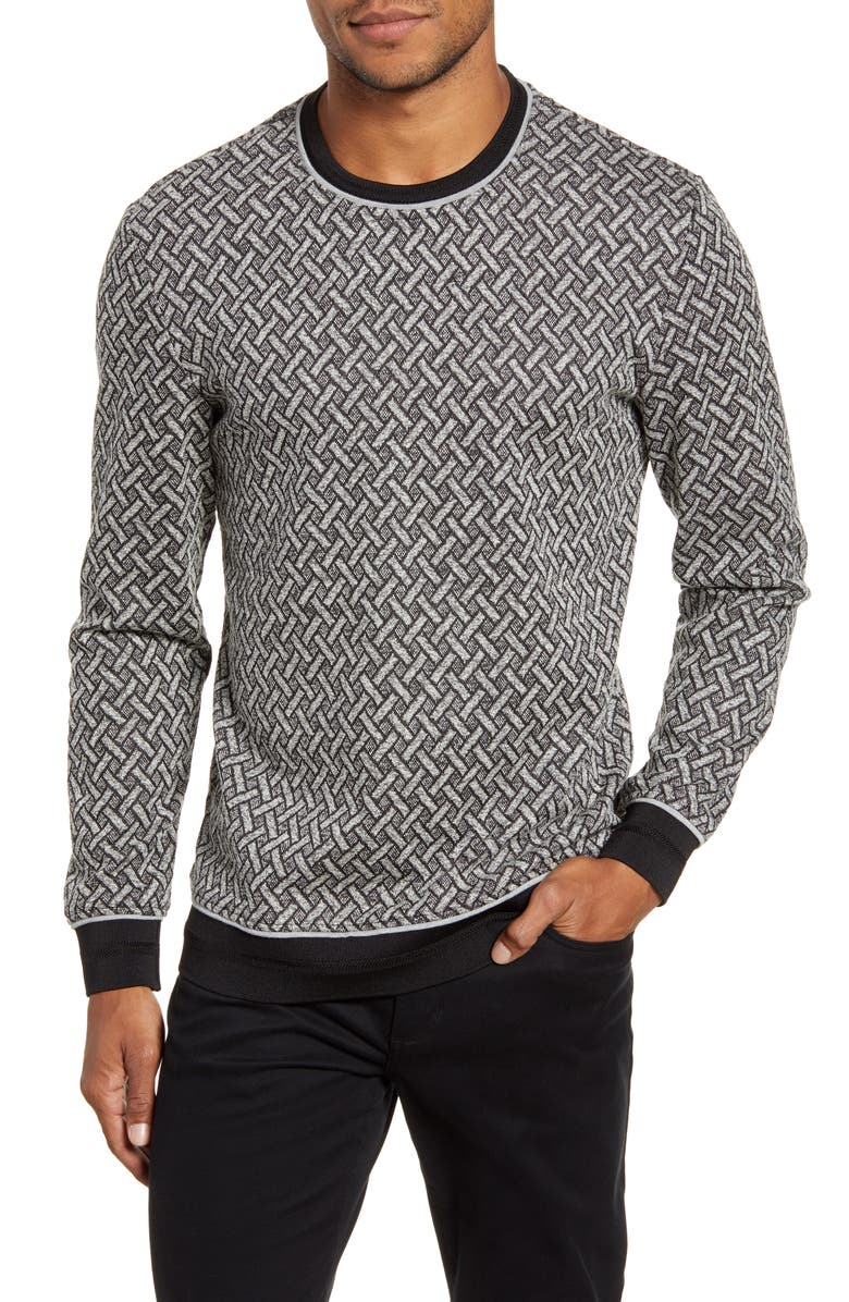 VINCE CAMUTO Slim Fit Performance Crewneck Sweater, Main, color, BLACK WHITE