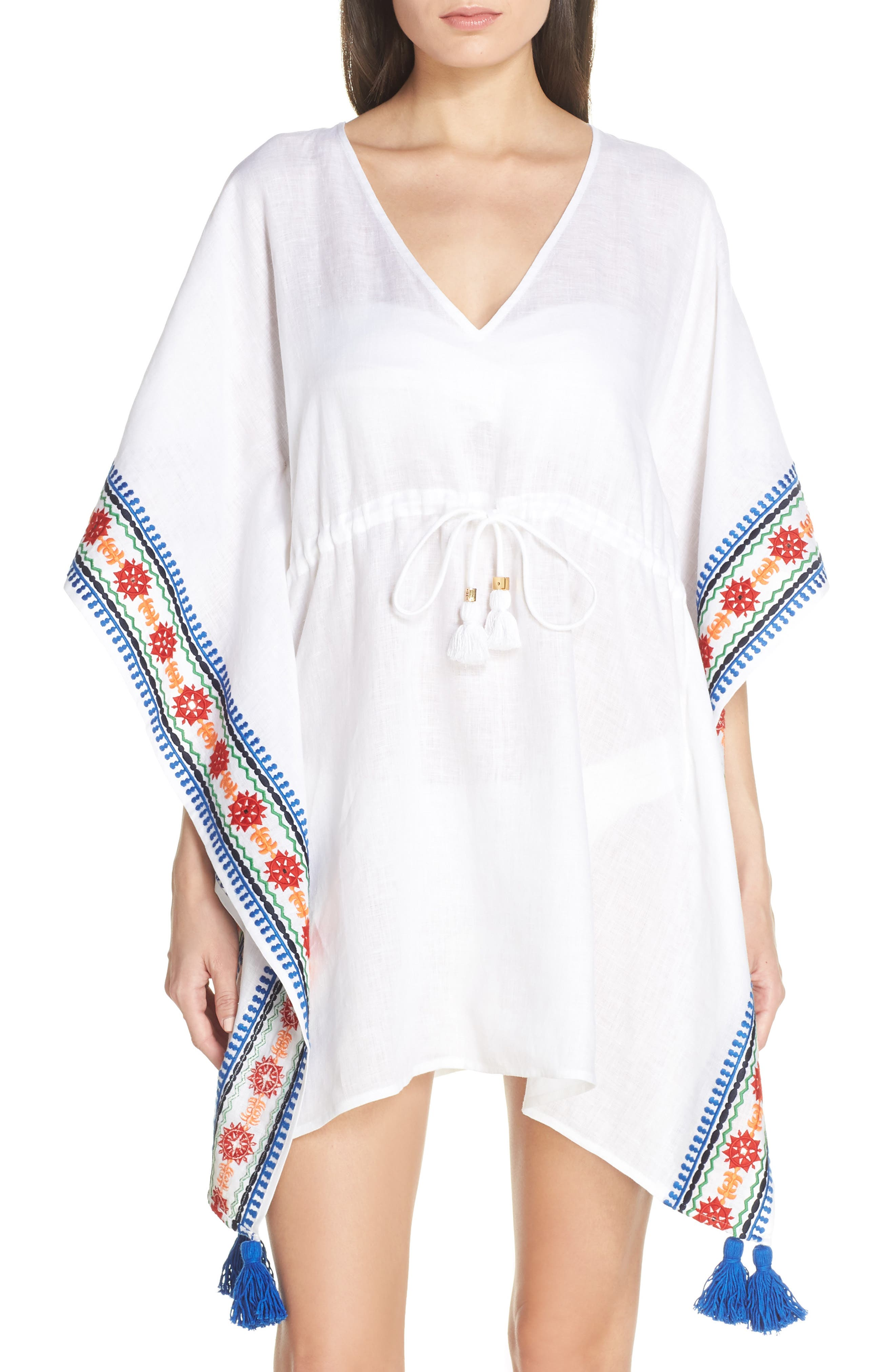 Embroidered Cover-Up Caftan, Main, color, WHITE