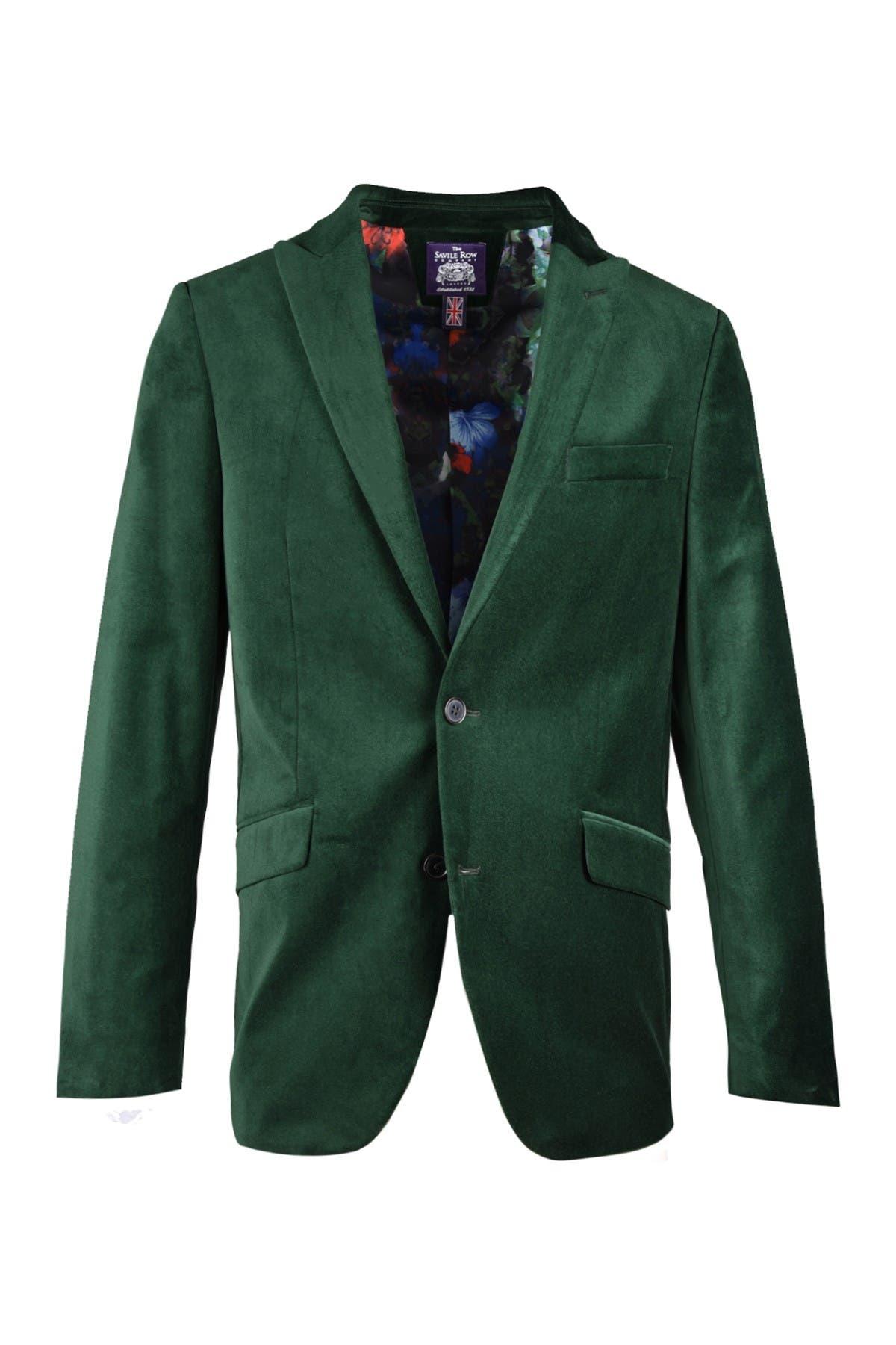 Image of SAVILE ROW CO Emerald Green Peak Lapel Slim Fit Velvet Blazer