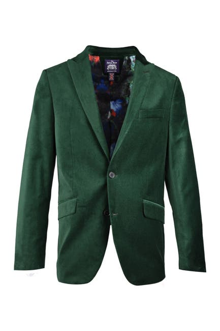 Image of SAVILE ROW CO Emerald Green Peak Lapel Slim Fit Velvet Blazer