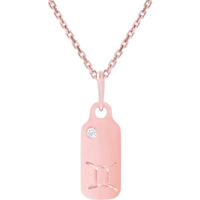 Mini Mini Jewels Diamond Accented Zodiac Sign Dog Tag Pendant Necklace