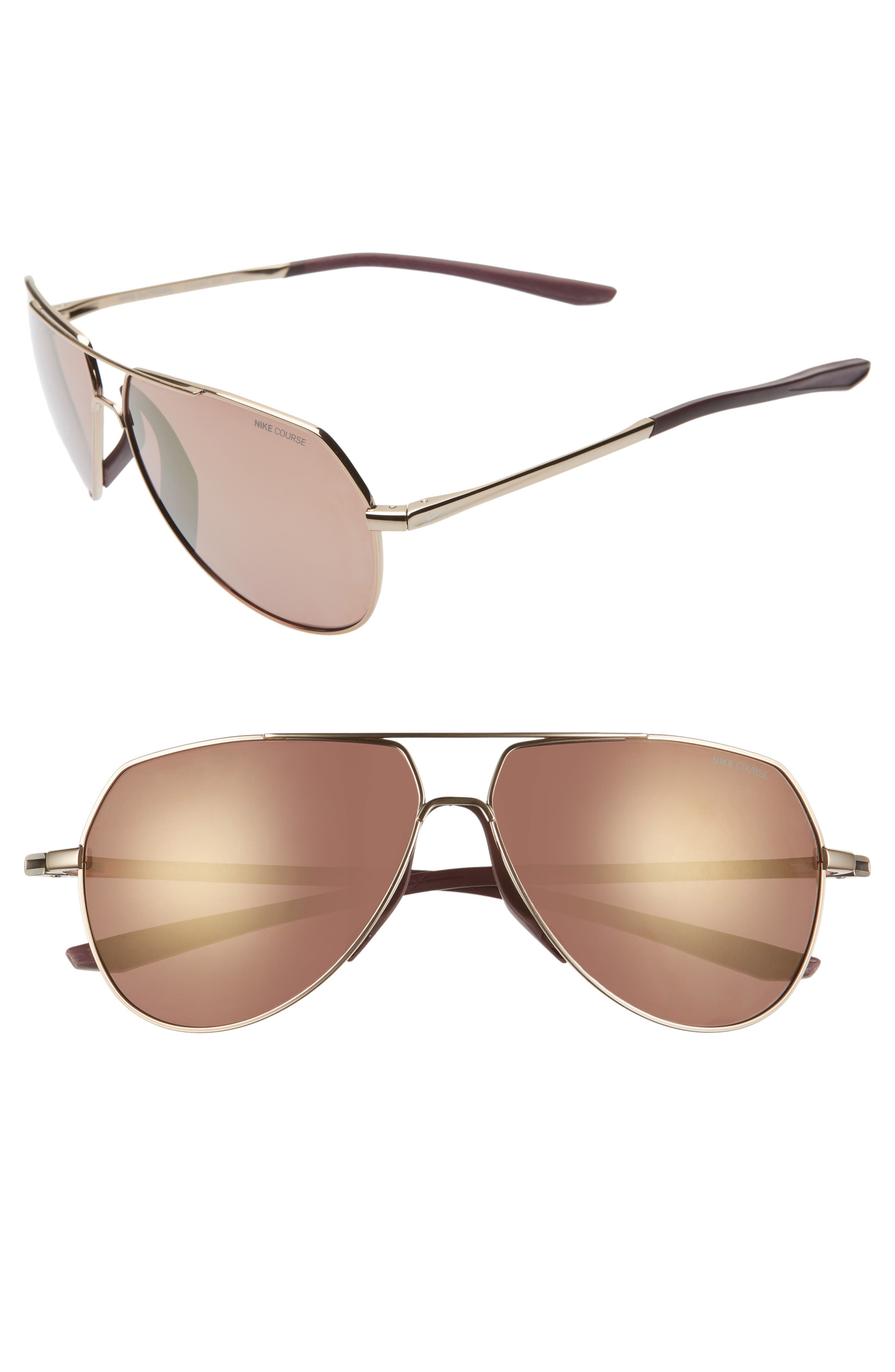 Nike Outrider 62Mm Oversize Mirrored Aviator Sunglasses - Bronze/ Copper