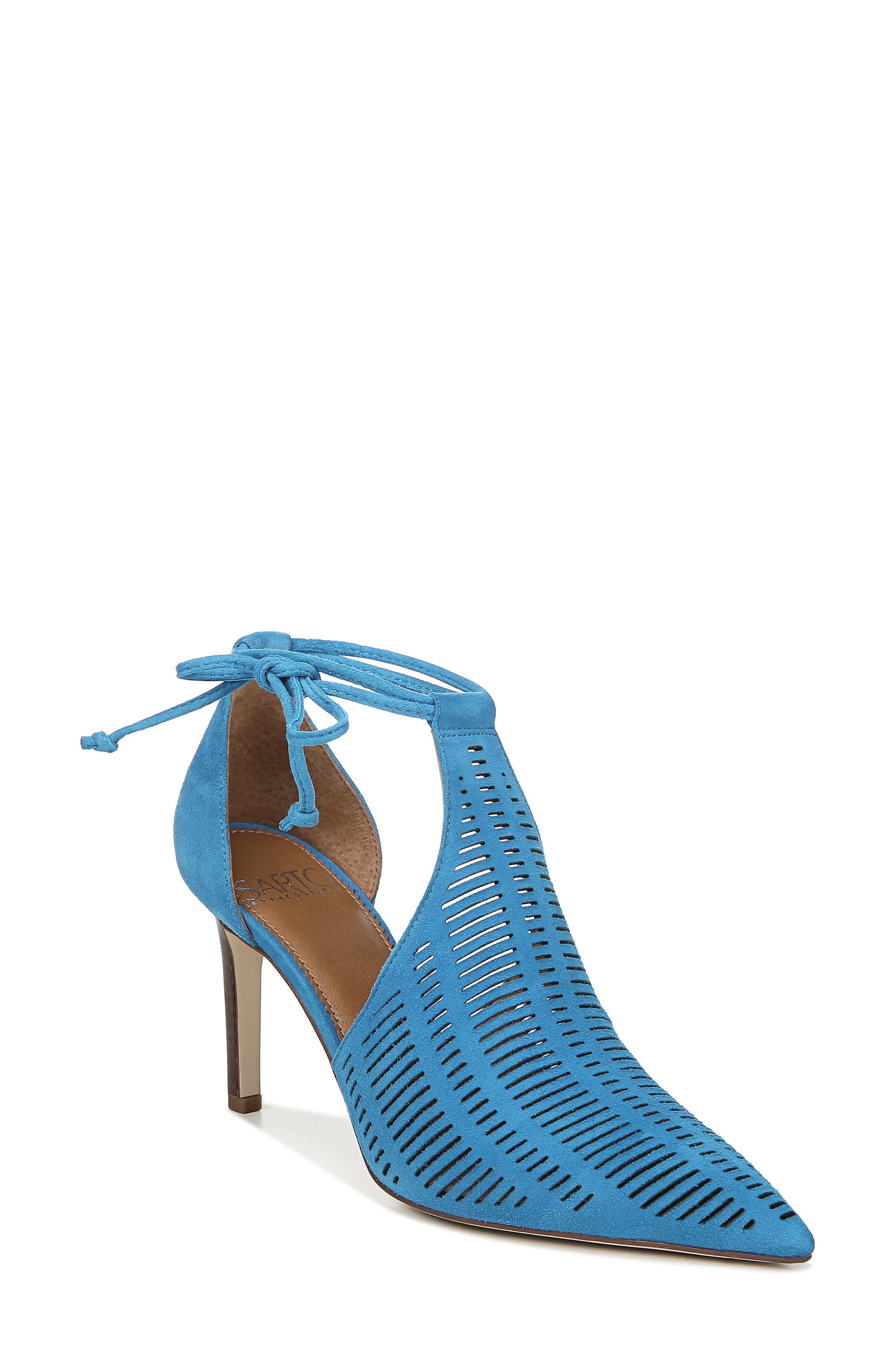 Sarto By Franco Sarto Krista Perforated Ankle Wrap Pump- Blue