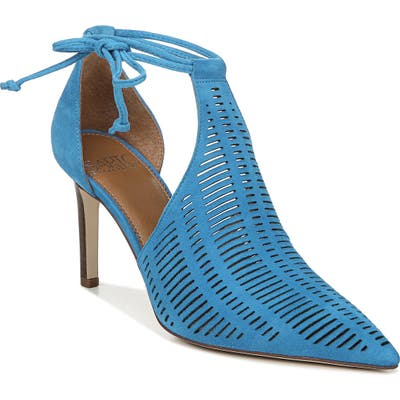 Sarto By Franco Sarto Krista Perforated Ankle Wrap Pump- Blue