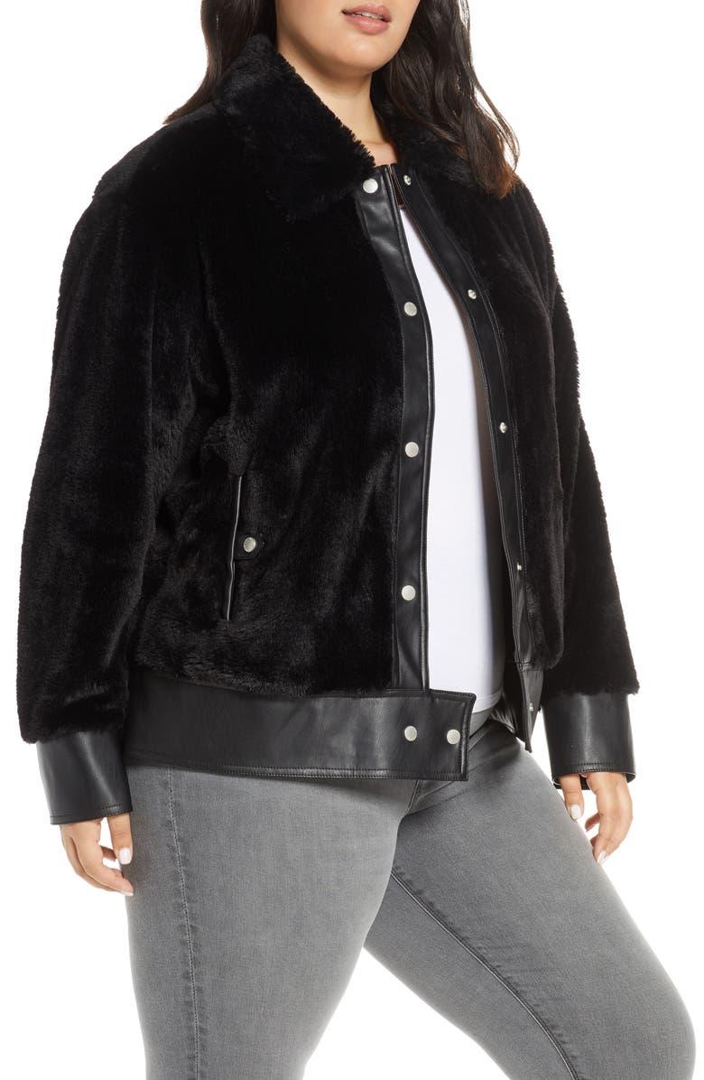 AVEC LES FILLES Faux Fur Trucker Jacket, Main, color, 001