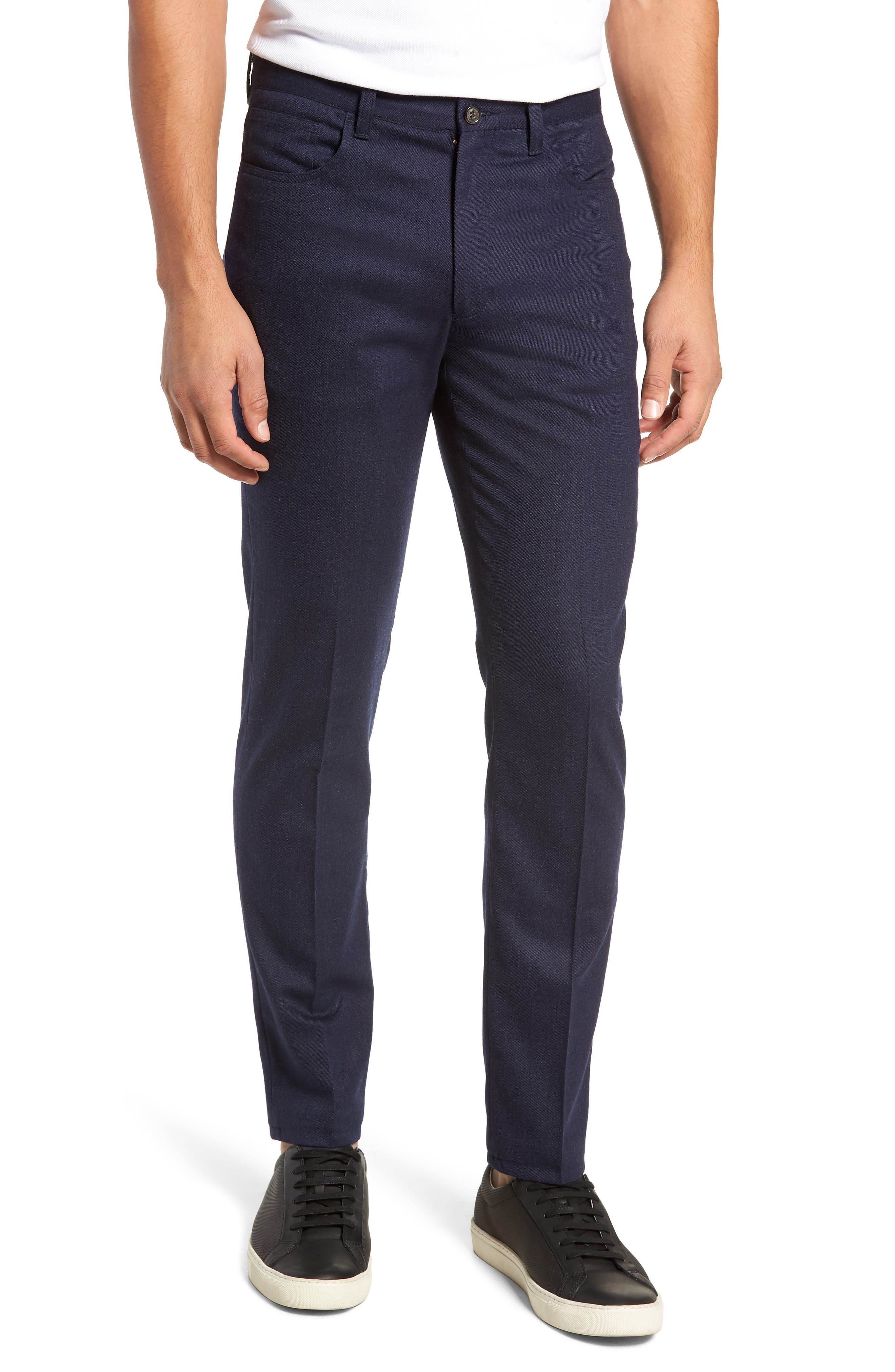 A stretch-infused blend of wool and cotton defines charming trousers with versatile appeal. Style Name: Berle Manufacturing Five-Pocket Stretch Solid Wool & Cotton Trousers. Style Number: 5710696. Available in stores.
