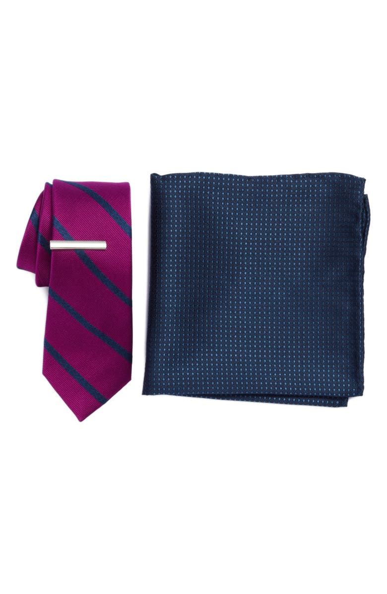 THE TIE BAR Wheelhouse Stripe 3-Piece Skinny Tie Style Box, Main, color, AZALEA
