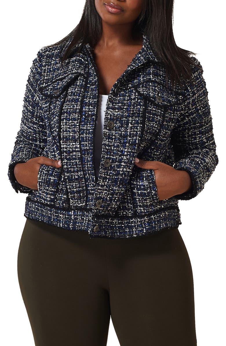 MARÉE POUR TOI Tweed Jacket, Main, color, BLUE