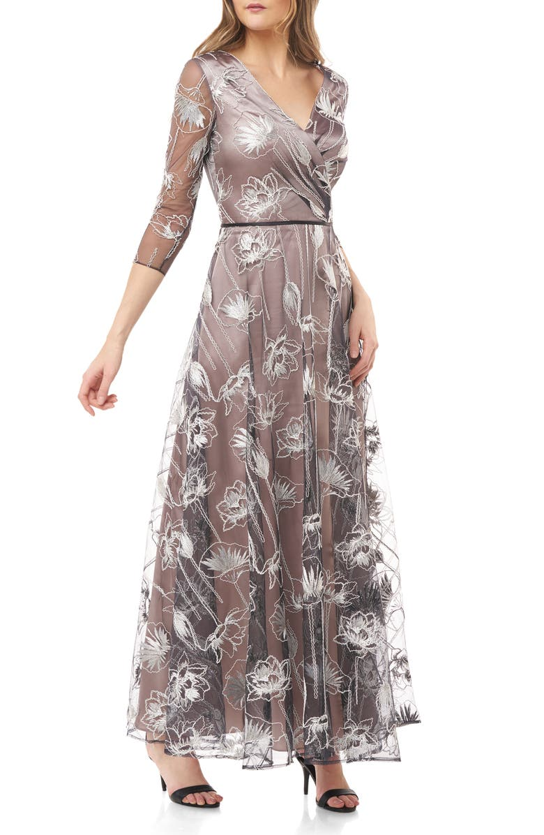 JS COLLECTIONS Embroidered Chiffon A-Line Gown, Main, color, 250